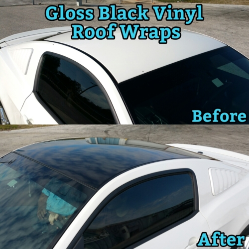 Gloss Black VINYL Roof Wraps in-house Installation