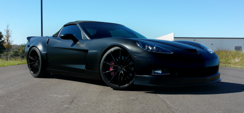 Satin Black full body and Gloss Black Wheels on this Corvette.