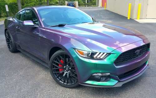 Gloss Black Rims and Full Body in Hypershift Color Changing Pearls on our customers 2016 Mustang