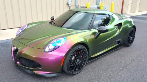 Exotic Alfa Romeo in our Color Changing High Gloss Removable Paint Coating with Gloss Black Rims