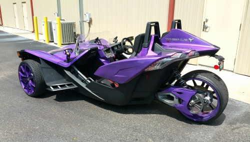 Plum Crazy Purple in High Gloss on the Polaris Slingshot