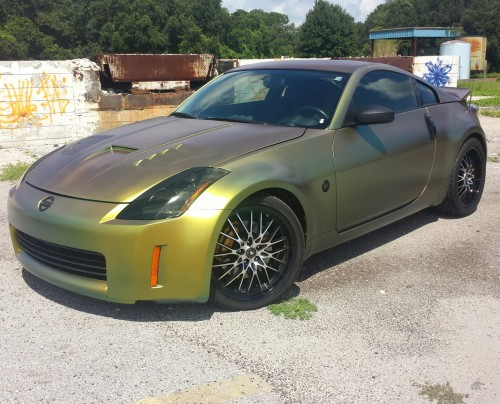 Komodo Pearl Dipped 350z, Tinted Lights, Hood and Spoiler Installation.