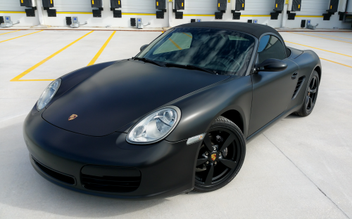Satin Black full body and wheels both dipped on this Porsche.